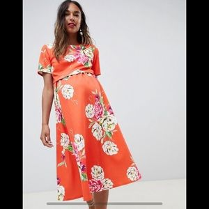ASOS Floral Maternity Double Layer Midi Dress
